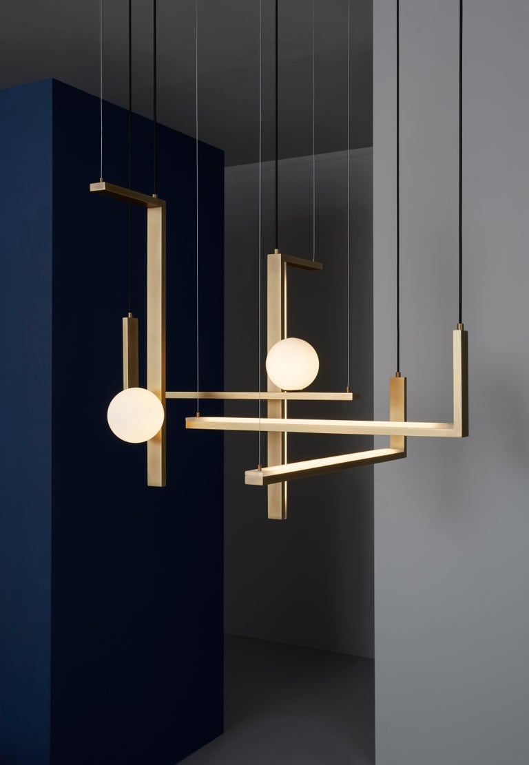Modern VeniceM Less 5 Pendant Light in Metal and Glass by Massimo Tonetto For Sale
