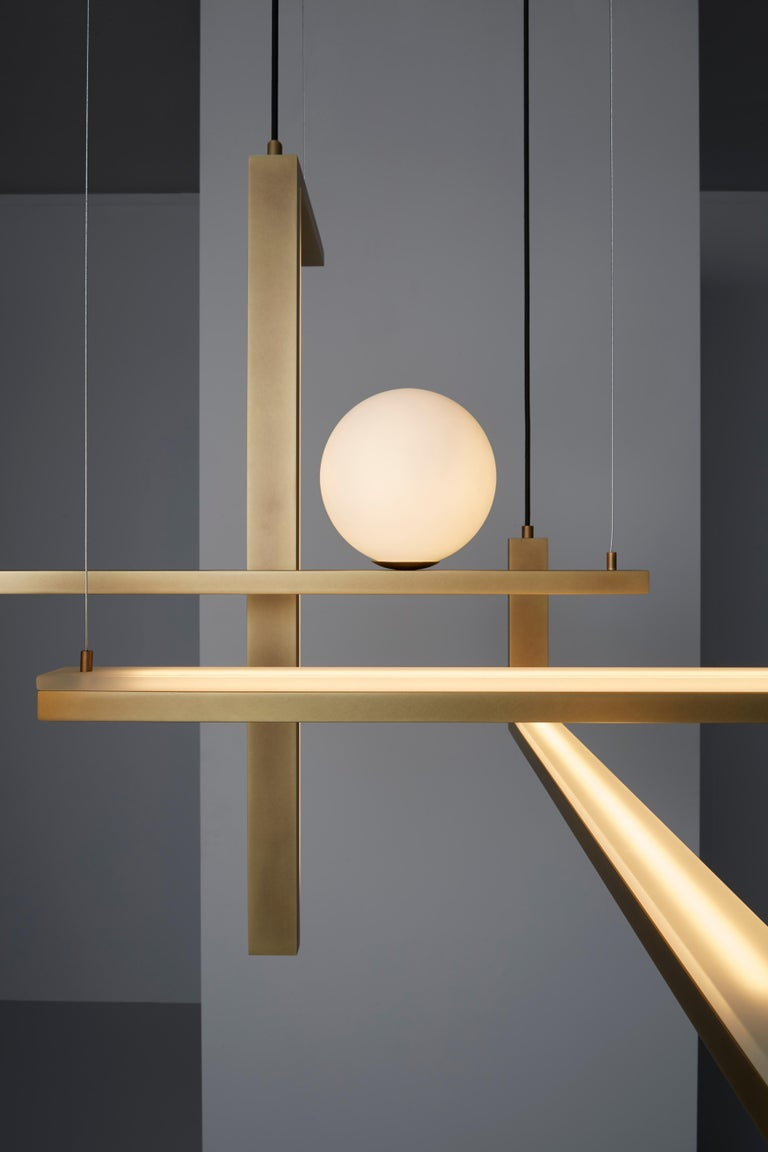 Italian VeniceM Less 5 Pendant Light in Metal and Glass by Massimo Tonetto For Sale