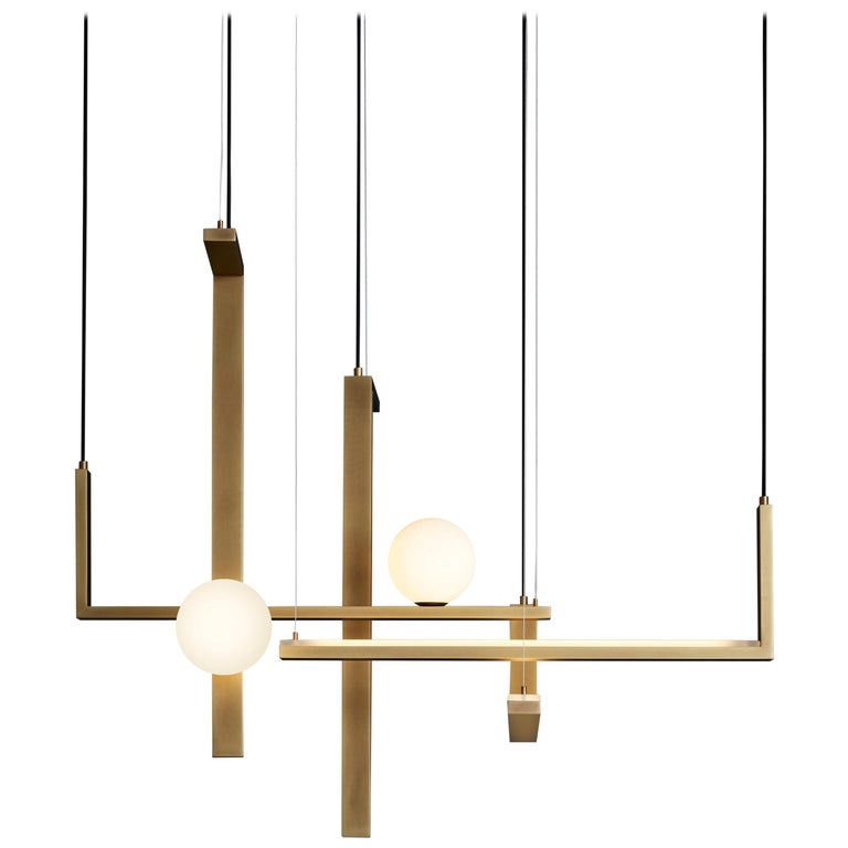 For Sale: Yellow (Burnished Natural Brass) VeniceM Less 5 Pendant Light in Metal and Glass by Massimo Tonetto