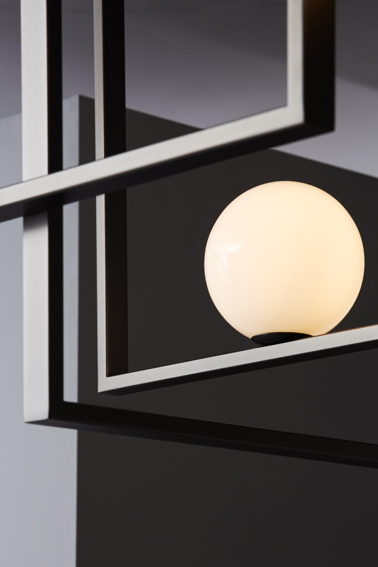 Modern VeniceM Mondrian Ceiling Light by Massimo Tonetto in Glass and Metal For Sale