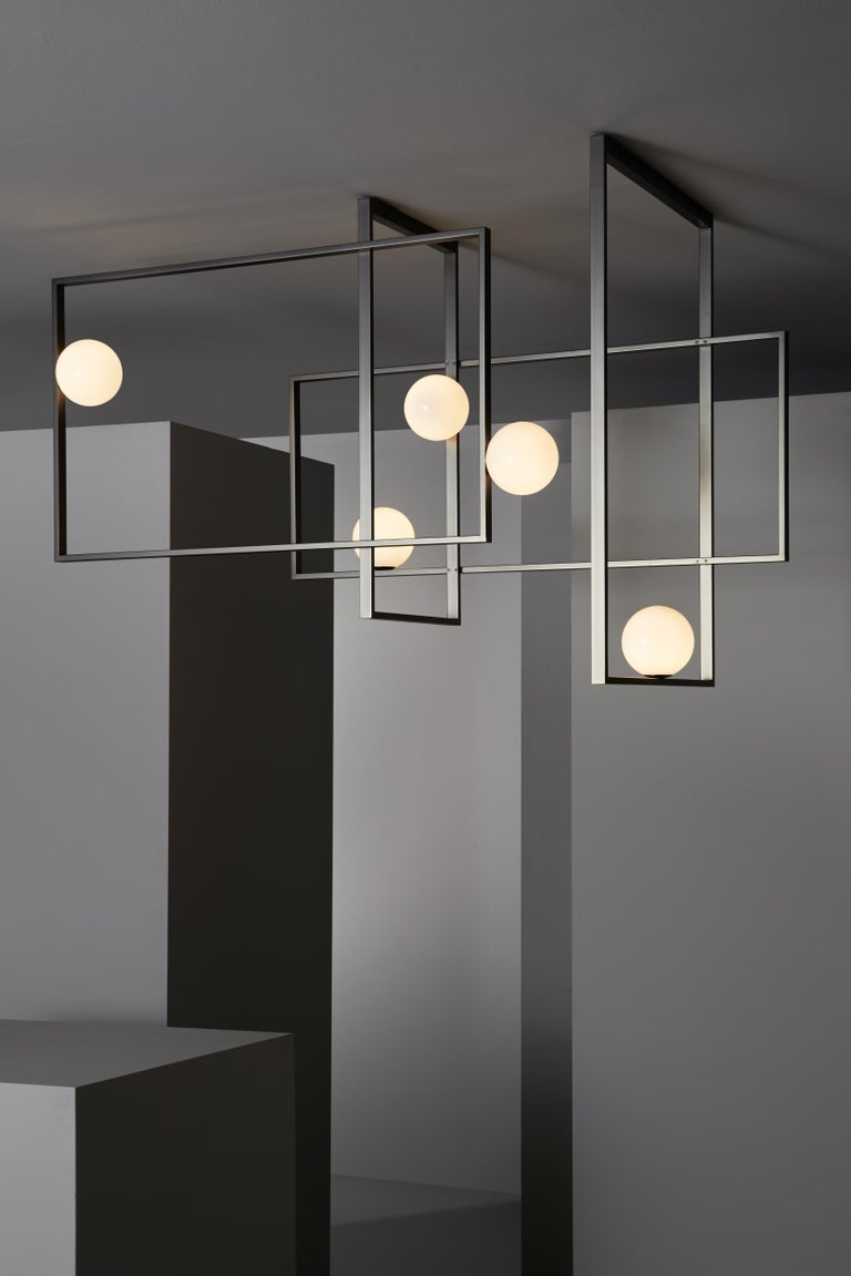 Italian VeniceM Mondrian Ceiling Light by Massimo Tonetto in Glass and Metal For Sale