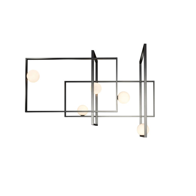 For Sale: Gray (Matte Black Nickel) VeniceM Mondrian Ceiling Light by Massimo Tonetto in Glass and Metal