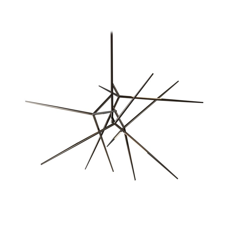 For Sale: Gray (Polished Black Nickel) VeniceM Spear Chandelier by Massimo Tonetto