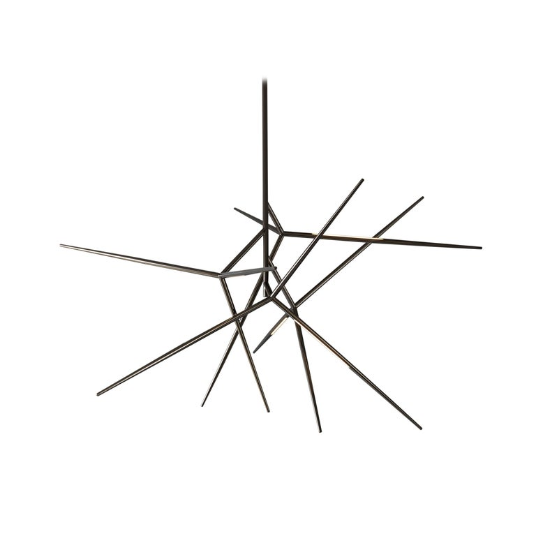 Gray (Polished Black Nickel) VeniceM Spear Extra Small Chandelier by Massimo Tonetto