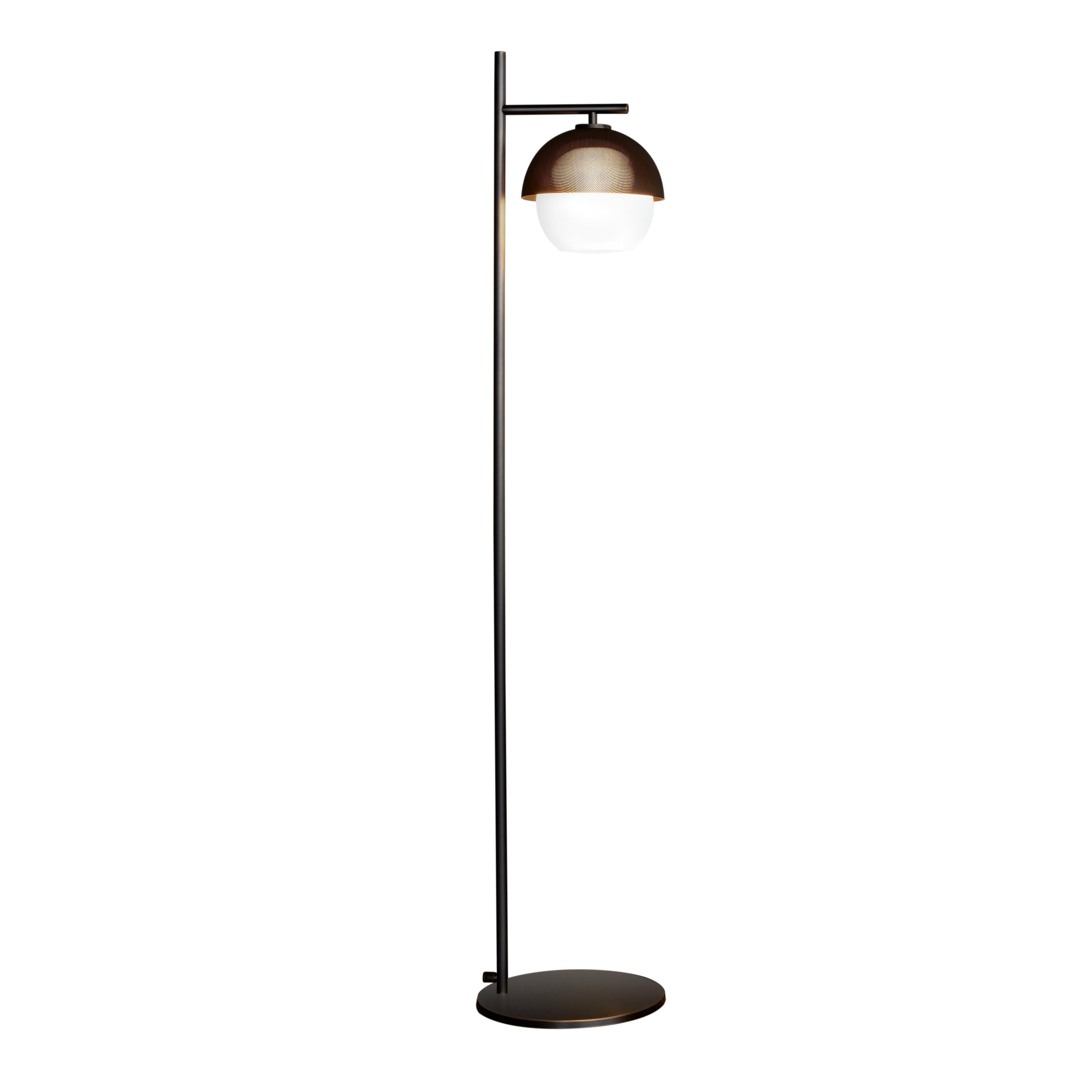 VeniceM Urban Floor Light 1 in Dark Burnished Brass and Glass by Massimo Tonetto