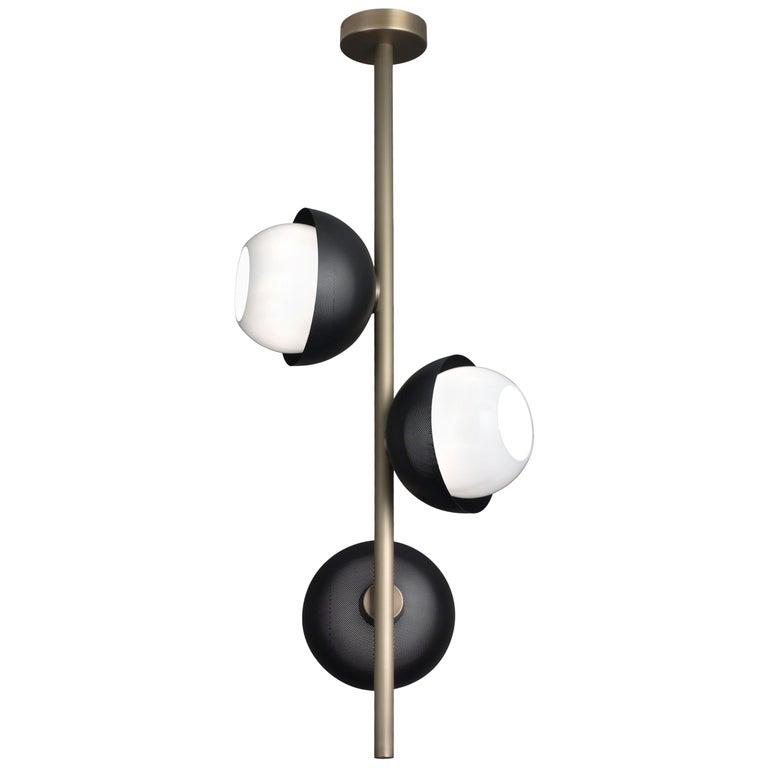 For Sale: Gray (Matte Black Nickel) VeniceM Urban Pendant Light 3 in Light Burnished Brass by Massimo Tonetto