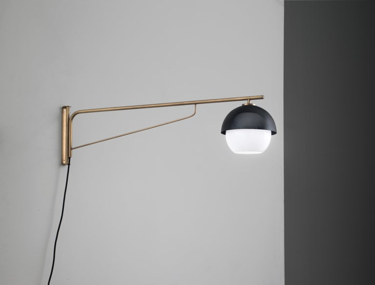 Modern VeniceM Urban Turn Arm Wall Light in Light Burnished Brass by Massimo Tonetto For Sale