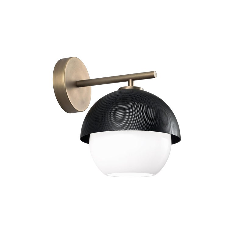 For Sale: Gray (Matte Black Nickel) VeniceM Urban Wall Sconce in Light Burnished Brass by Massimo Tonetto