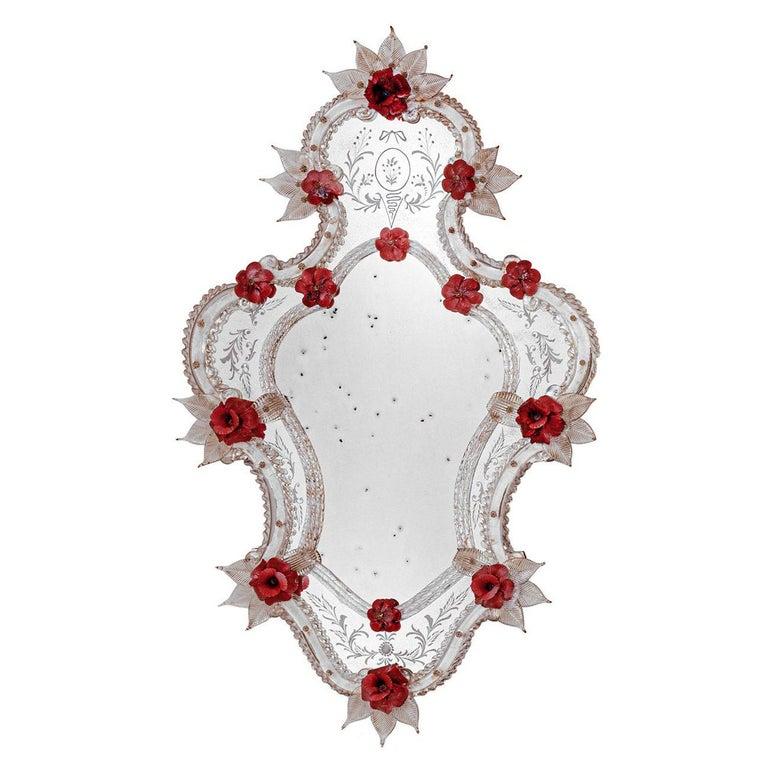 Venier Murano Glass Mirror For Sale