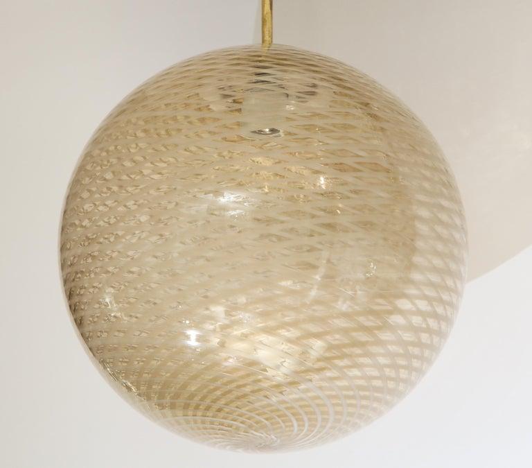 Venini 1930s Reticello Glass Globe Chandelier For Sale 4