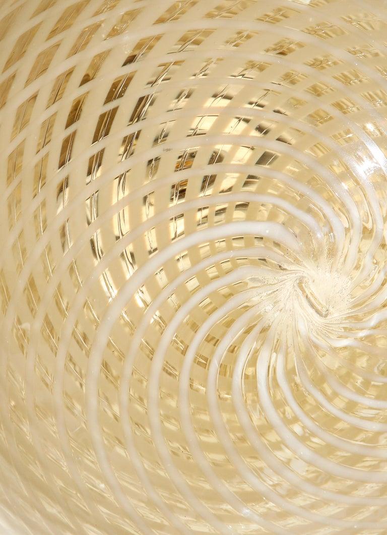 Venini 1930s Reticello Glass Globe Chandelier For Sale 6