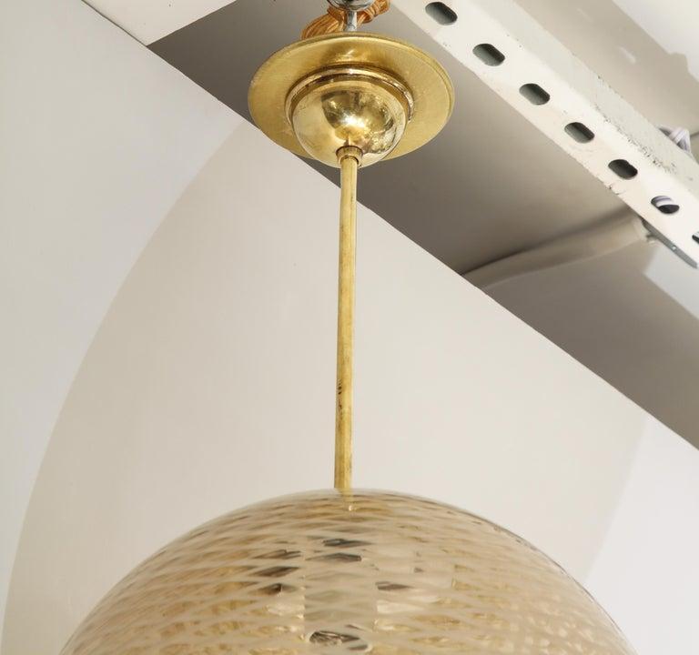 Blown Glass Venini 1930s Reticello Glass Globe Chandelier For Sale