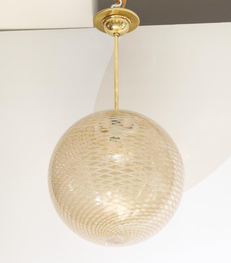 Venini 1930s Reticello Glass Globe Chandelier For Sale 1