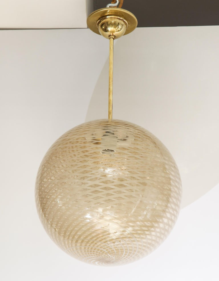 Venini 1930s Reticello Glass Globe Chandelier For Sale 2