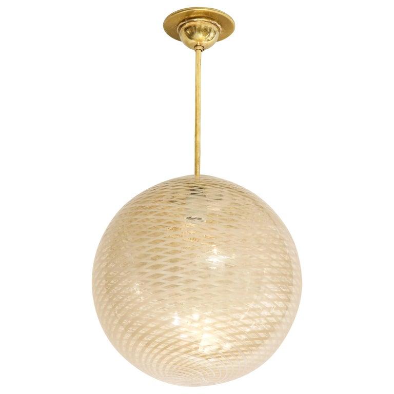 Venini 1930s Reticello Glass Globe Chandelier For Sale