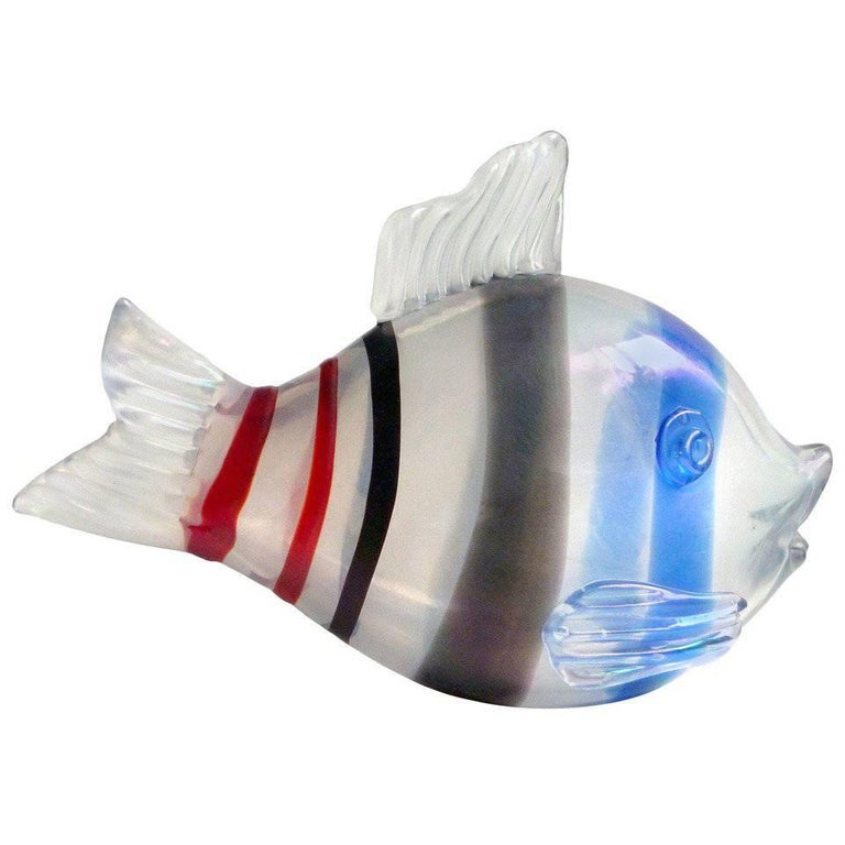 Venini 1935 Tyra Lundgren Murano Iridescent Italian Art Glass Fish Sculpture For Sale