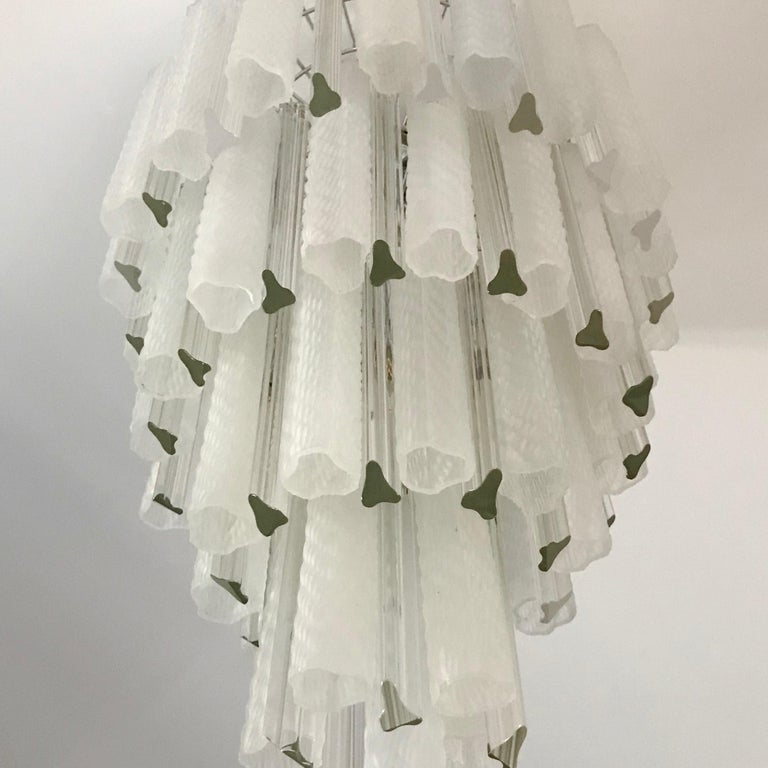 Venini 1960s Cylinder Crystal and White Murano Glass Round Chandelier on Nickel For Sale 6