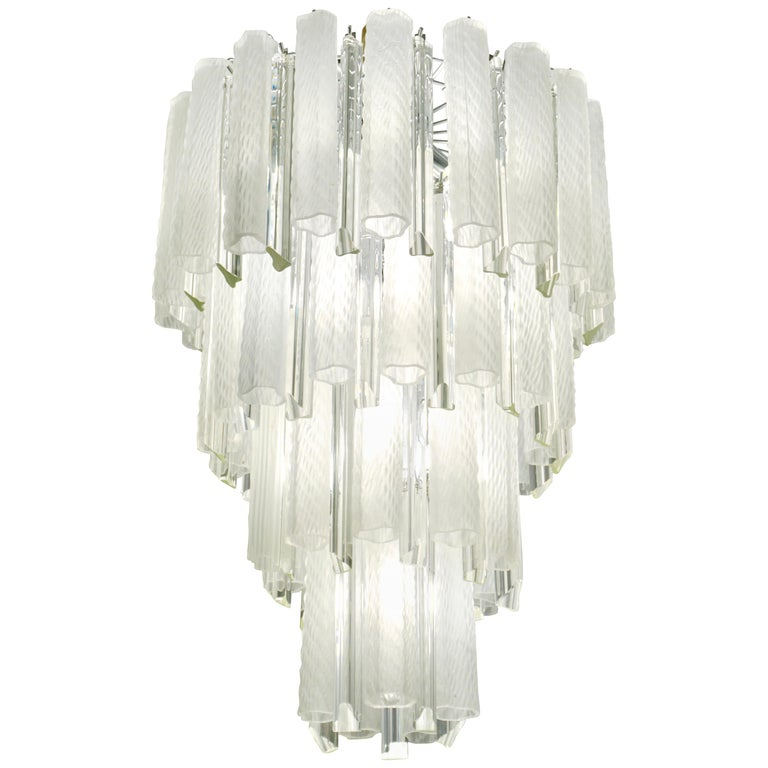 Venini 1960s Cylinder Crystal and White Murano Glass Round Chandelier on Nickel For Sale