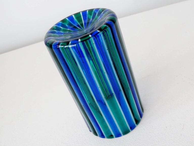 Italian Venini 1960s Gio Ponti Green and Blue Striped Beaker Vase For Sale