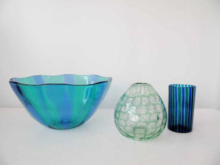 Mid-20th Century Venini 1960s Gio Ponti Green and Blue Striped Beaker Vase For Sale