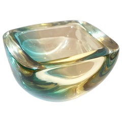 Venini 1970s Italian Square Golden Yellow and Acqua Green Murano Glass Bowl