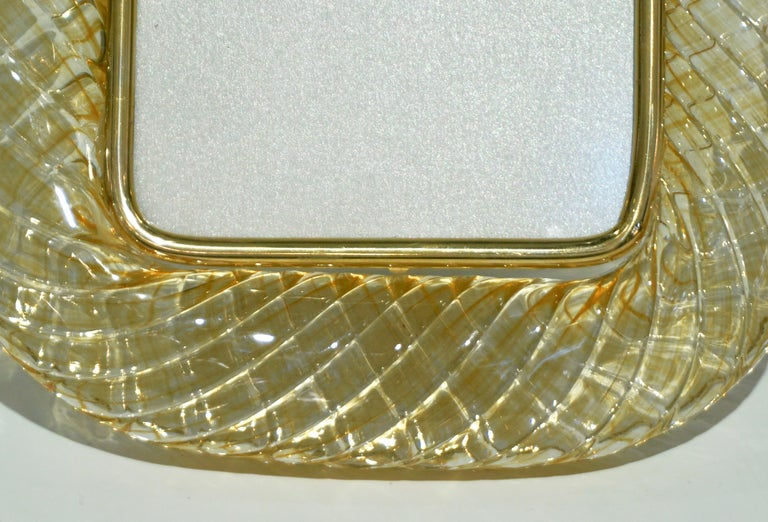 20th Century Venini 1970s Italian Vintage Amber Gold Murano Glass and Brass Photo Frame For Sale