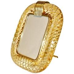Venini 1970s Italian Vintage Amber Gold Murano Glass and Brass Photo Frame