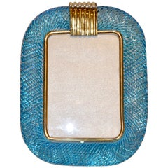 Venini 1970s Italian Vintage Turquoise Blue and Gold Murano Glass Photo Frame