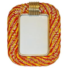Venini 1970s Vintage Italian Coral Red & Yellow Crystal Murano Glass Photo Frame