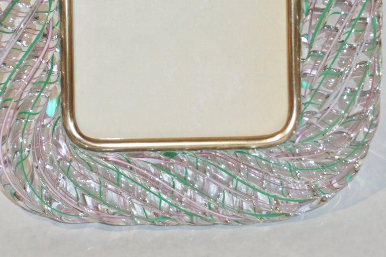 Mid-Century Modern Venini 1970s Vintage Italian Green Rose Pink & Crystal Murano Glass Photo Frame For Sale
