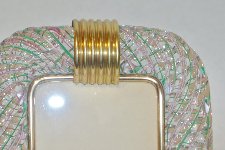 Hand-Crafted Venini 1970s Vintage Italian Green Rose Pink & Crystal Murano Glass Photo Frame For Sale
