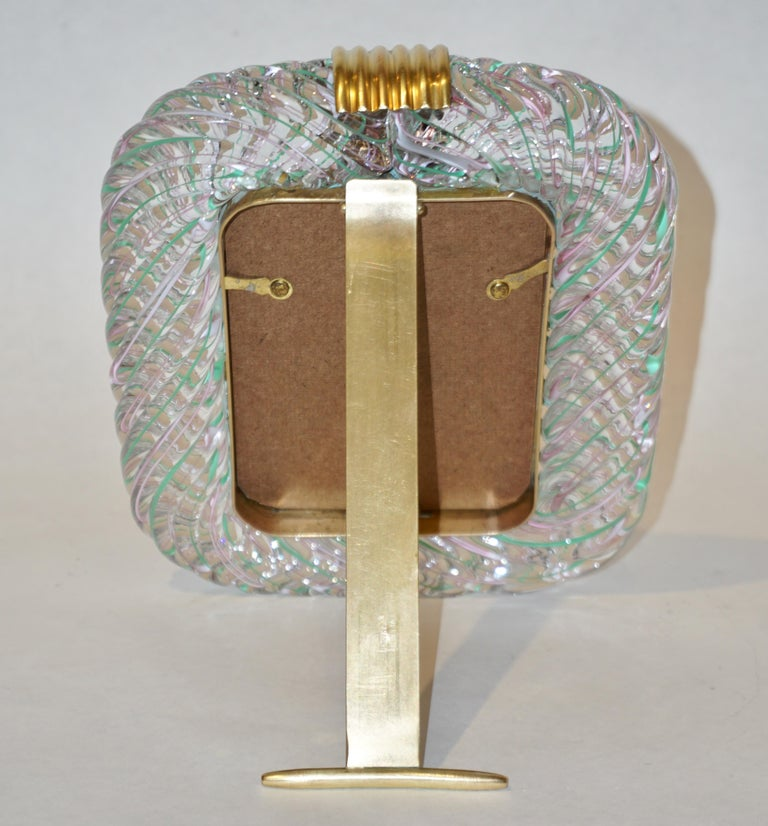 Late 20th Century Venini 1970s Vintage Italian Green Rose Pink & Crystal Murano Glass Photo Frame For Sale