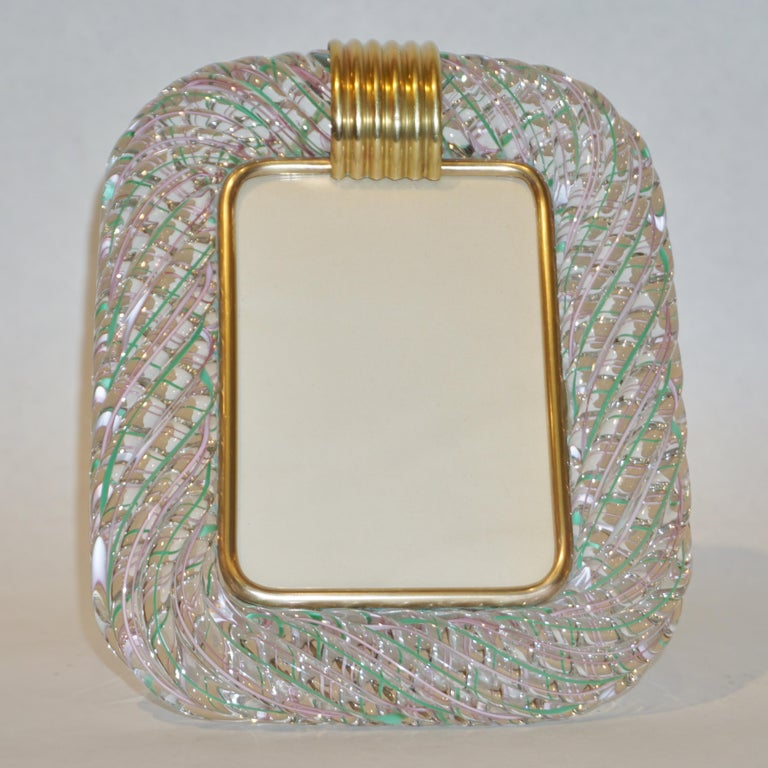Venini 1970s Vintage Italian Green Rose Pink & Crystal Murano Glass Photo Frame For Sale 2