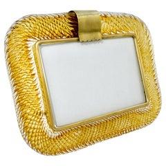 Venini 1980s Italian Vintage Amber Gold Murano Glass and Brass Photo Frame