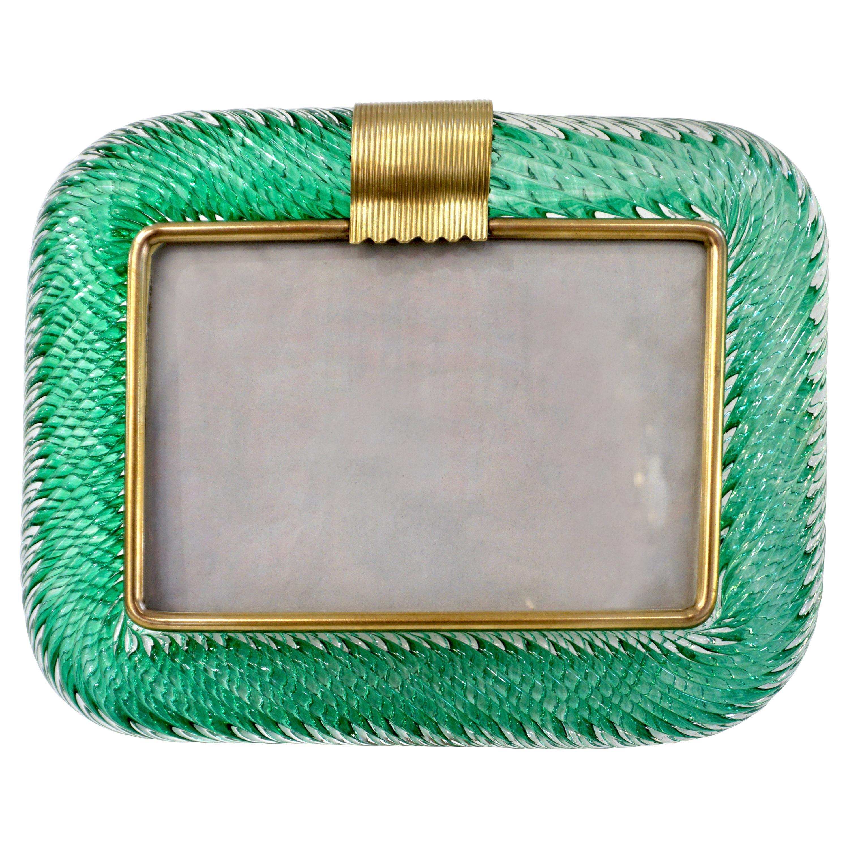 Venini 1980s Italian Vintage Emerald Green Murano Glass and Brass Photo Frame
