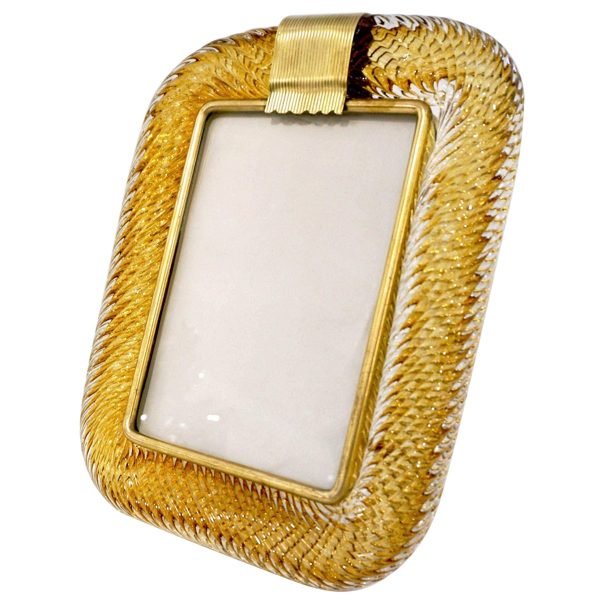 Venini 1980s Italian Vintage Tall Amber Gold Murano Glass and Brass Photo Frame