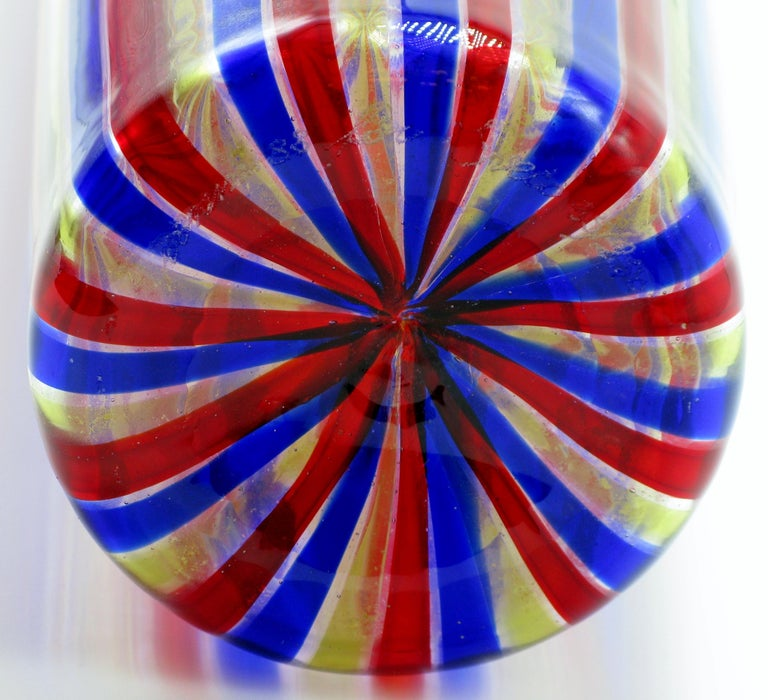 20th Century Venini A Canne Bottle Vase For Sale