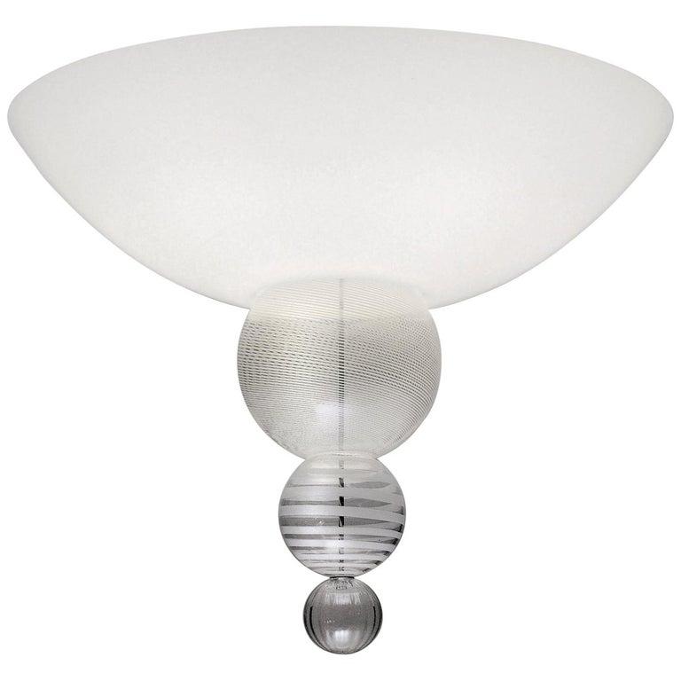 Venini Abaco Flush Light in White by Monica Guggisberg & Philip Baldwin For Sale