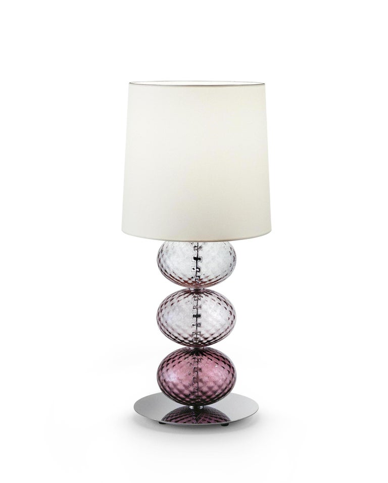 Italian Venini Abat-Jour Bedside Table Light in Light Pink Glass For Sale