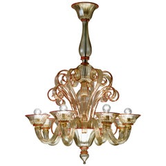 Venini Albrici 6-Arm Chandelier in Gold and Red