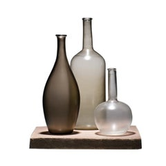 Venini Alla Morandi Bottles Sculpture Set in Brown, Gray & Clear by Matteo Thun