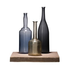 Venini Alla Morandi Bottles Sculptures in Blue, Black and Amber by Matteo Thun