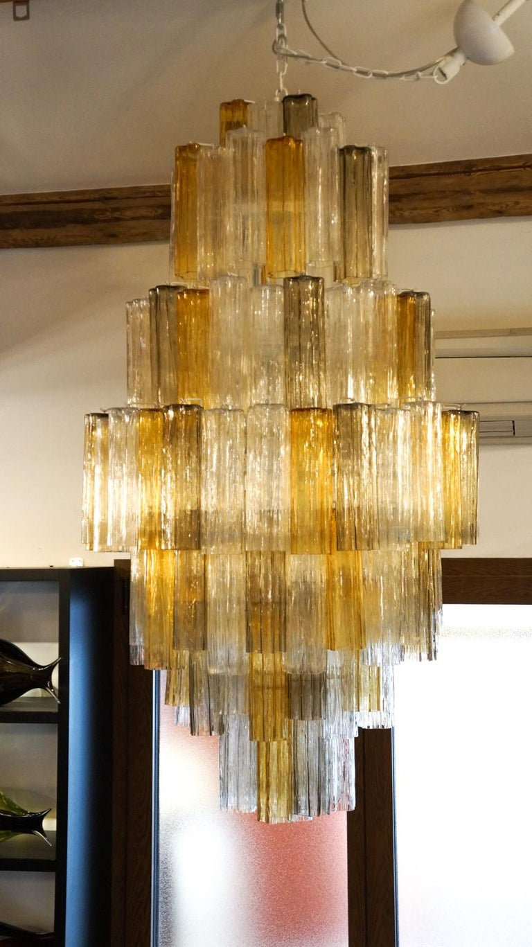 Venini Amber Crystal Murano Glass Tronchi Chandelier by Toni Zuccheri, 1980s For Sale 5