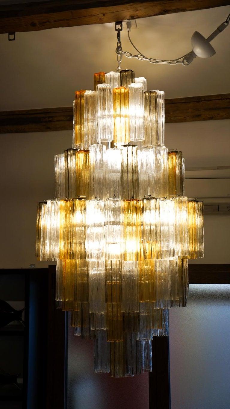 Venini Amber Crystal Murano Glass Tronchi Chandelier by Toni Zuccheri, 1980s For Sale 6