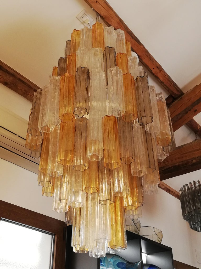 Mid-Century Modern Venini Amber Crystal Murano Glass Tronchi Chandelier by Toni Zuccheri, 1980s For Sale