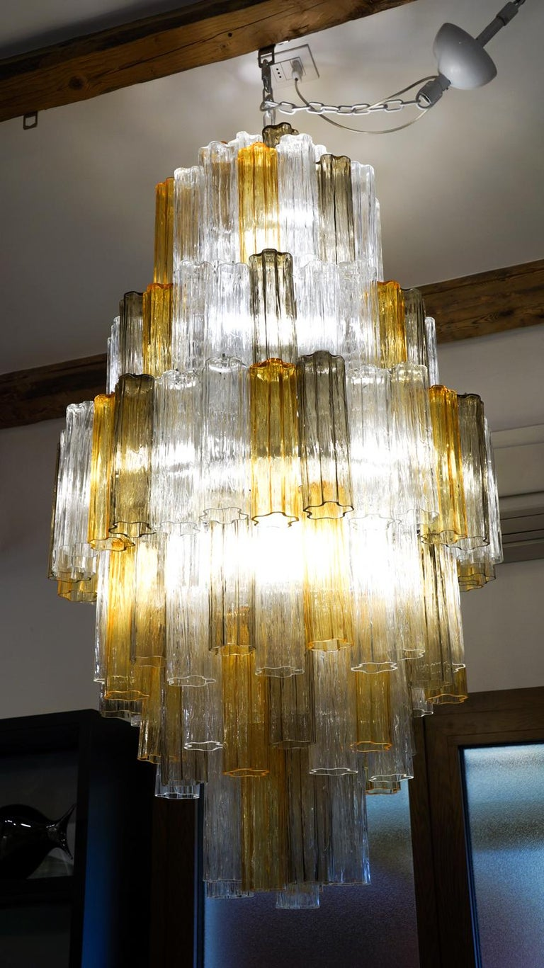 Hand-Crafted Venini Amber Crystal Murano Glass Tronchi Chandelier by Toni Zuccheri, 1980s For Sale