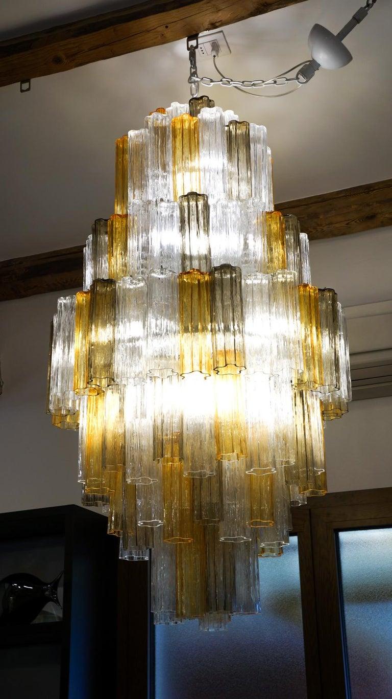 Venini Amber Crystal Murano Glass Tronchi Chandelier by Toni Zuccheri, 1980s In Excellent Condition For Sale In Murano, Venezia