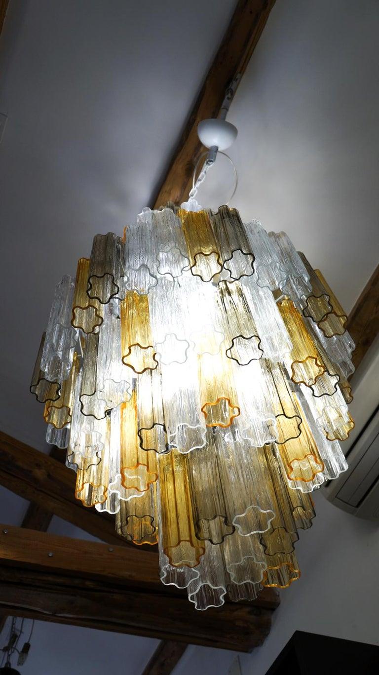 Late 20th Century Venini Amber Crystal Murano Glass Tronchi Chandelier by Toni Zuccheri, 1980s For Sale