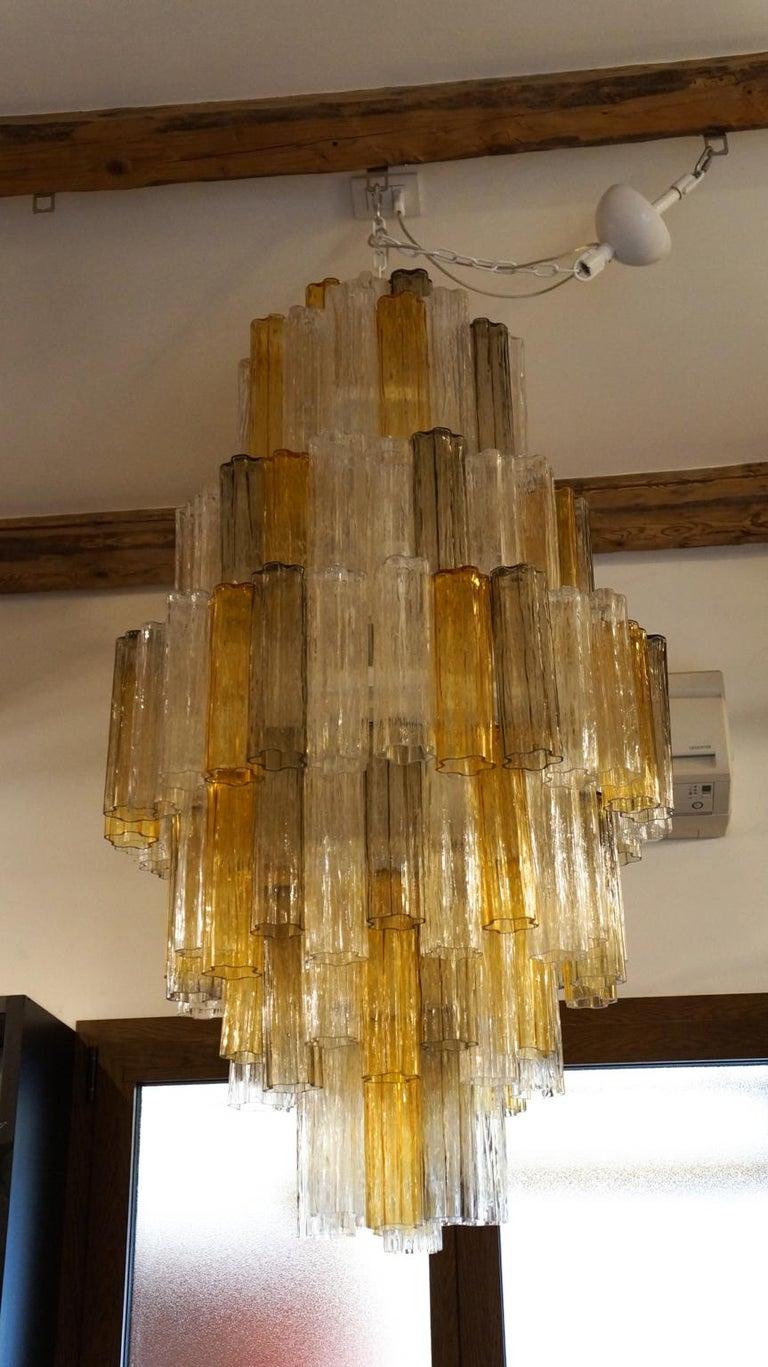 Venini Amber Crystal Murano Glass Tronchi Chandelier by Toni Zuccheri, 1980s For Sale 2