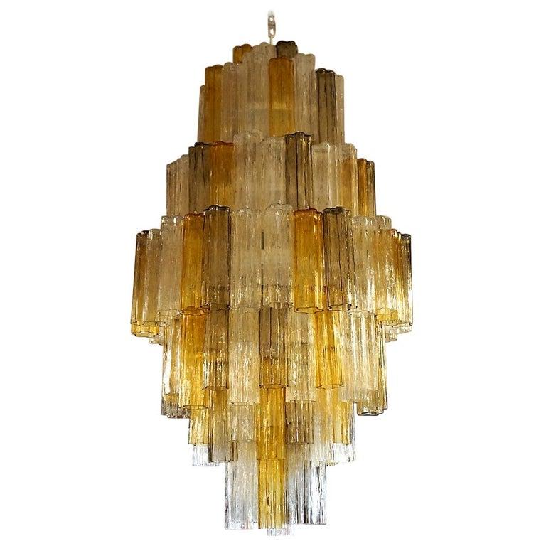 Venini Amber Crystal Murano Glass Tronchi Chandelier by Toni Zuccheri, 1980s For Sale